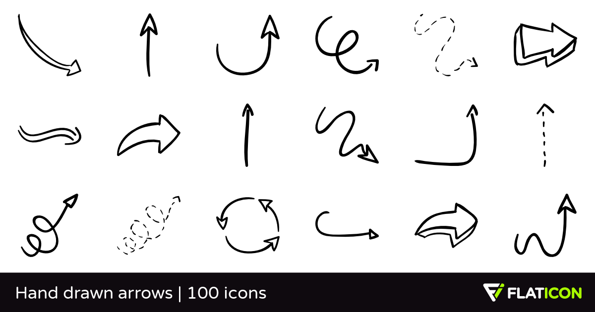 Drawn sykol arrow Icons files) EPS PSD