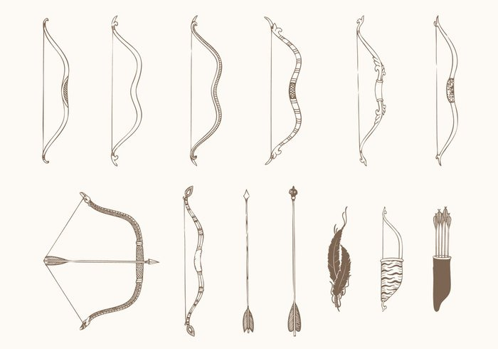 Drawn arrow hunting Hand Photoshop Brushes Bows Free