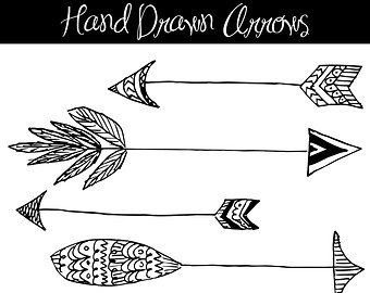 Drawn arrow indian Clipart indian ART: Vector outline