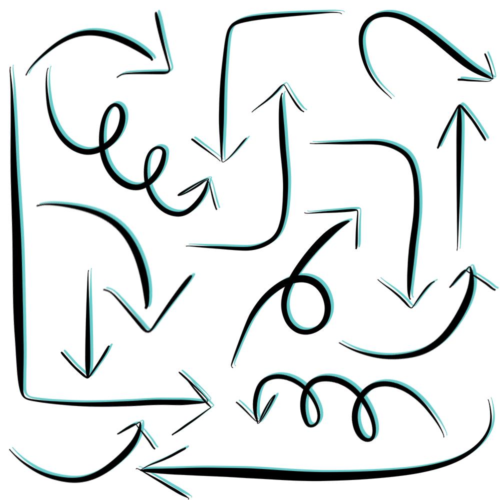 Drawn arrow straight Art look 90's create Overlays