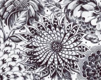 Drawn garden black and white flower #13