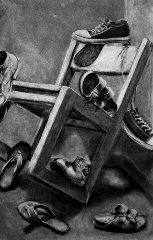 Drawn still life art Then student setting Portfolio up