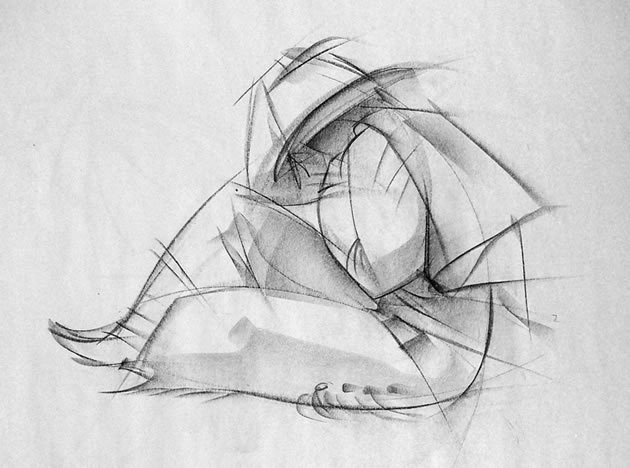 Drawn still life vintage Figure Drawing: Students A gesture