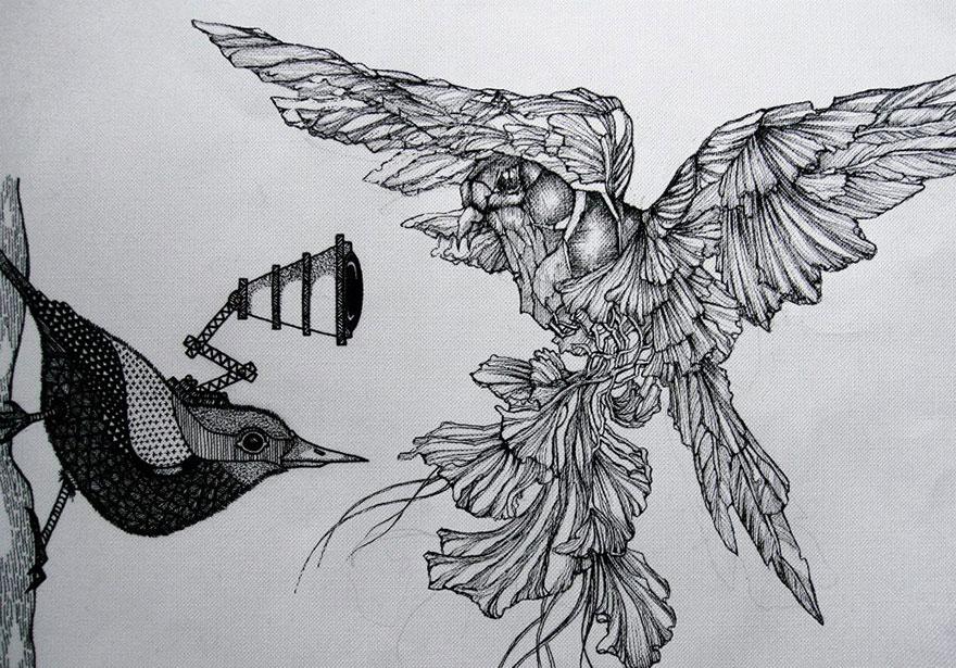 Drawn hummingbird amazing bird Two Birds With Mechanical My