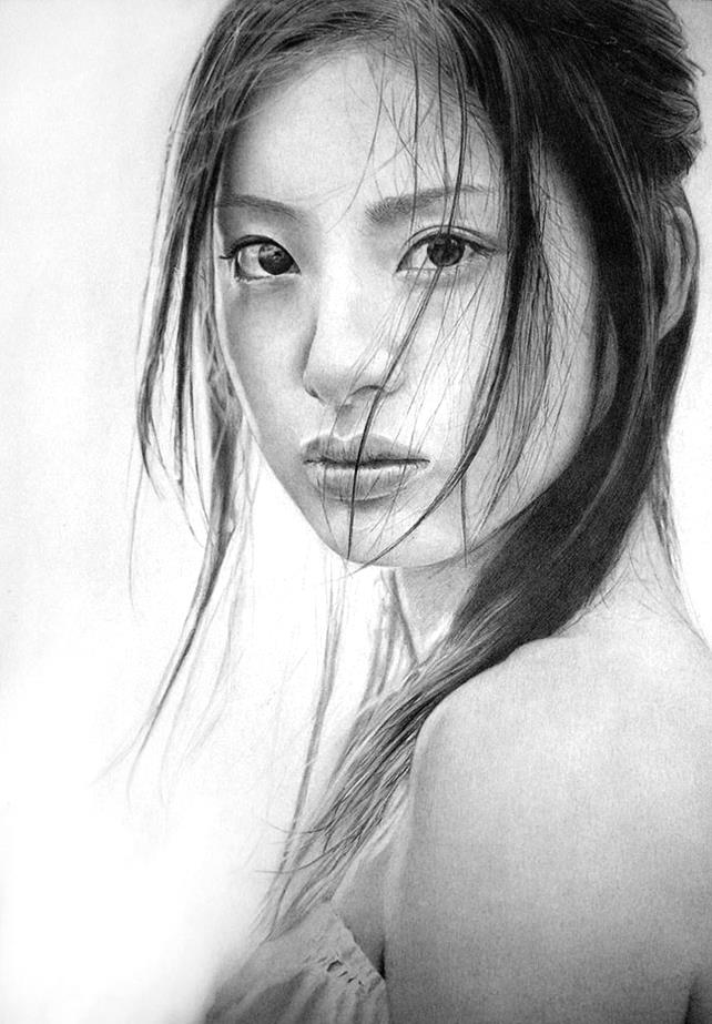 Drawn portrait interesting Hyper Hyper Realistic 10 Pencil