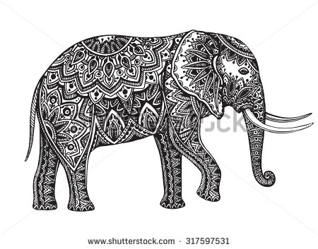 Drawn asian elephant Vector patterned floral with elements