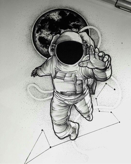 Drawn astronaut Constellation Planet drawing de Tattoo;
