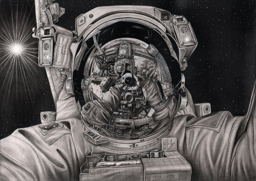 Drawn astronaut Tacular The drawing by graphite