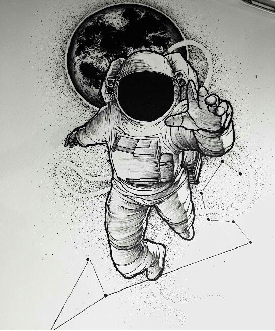 Drawn space background kid Astronaut Tattoo its  meanings