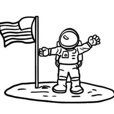 Astronaut clipart the moon drawing Coloring an of on flag