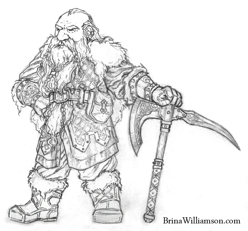 Drawn beard fake Standing Scribblings Brina Warrior Dwarf