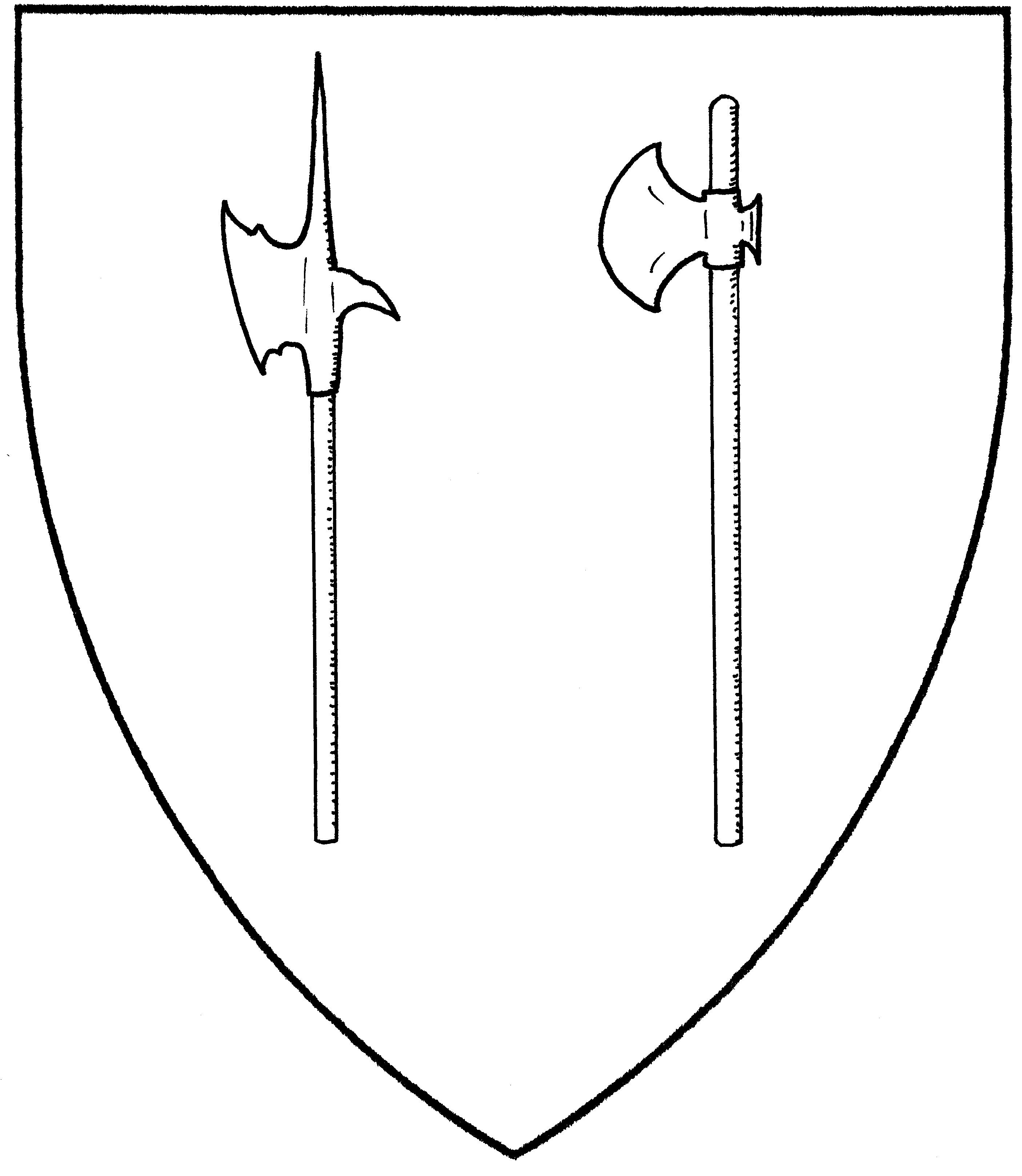 Drawn axe heraldic (Period) Mistholme arm (Period); pole