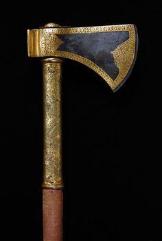 Drawn axe iron Iron Battle gold bound and