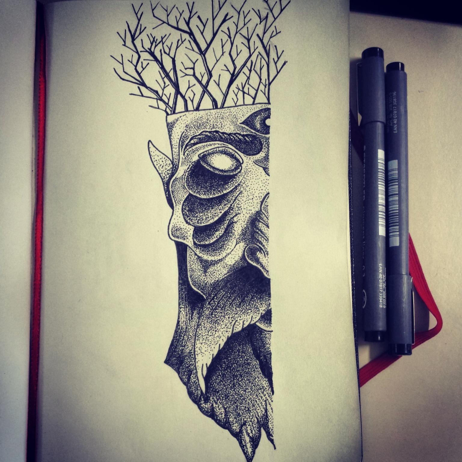 Drawn axe iron Stippling #ink #draw  #axe