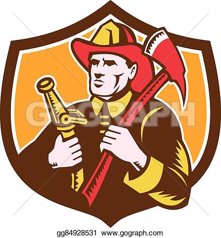 Drawn axe woodcutting Vector Woodcut Art Fireman