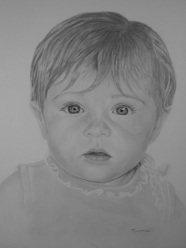 Drawn baby Portraits and Charcoal from Baby