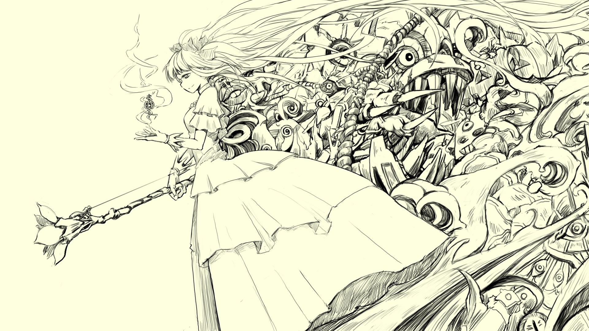 Drawn background anime Sketch Sketch Desktop VV Sketch