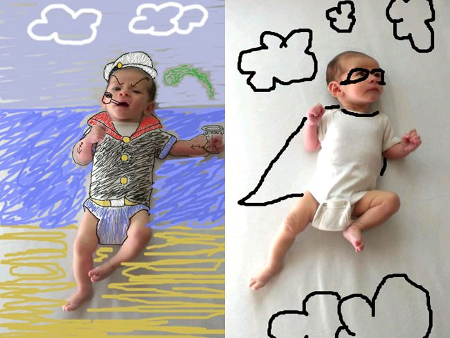 Drawn background baby photoshoot #3