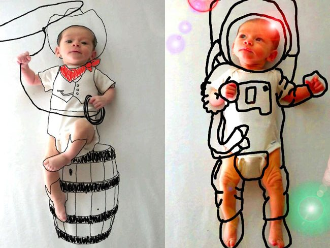 Drawn background baby photoshoot #7