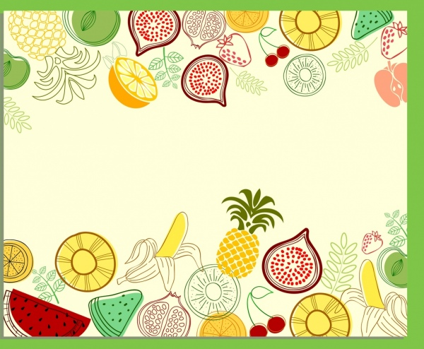 Drawn background fruit Background fruits drawn colored colored