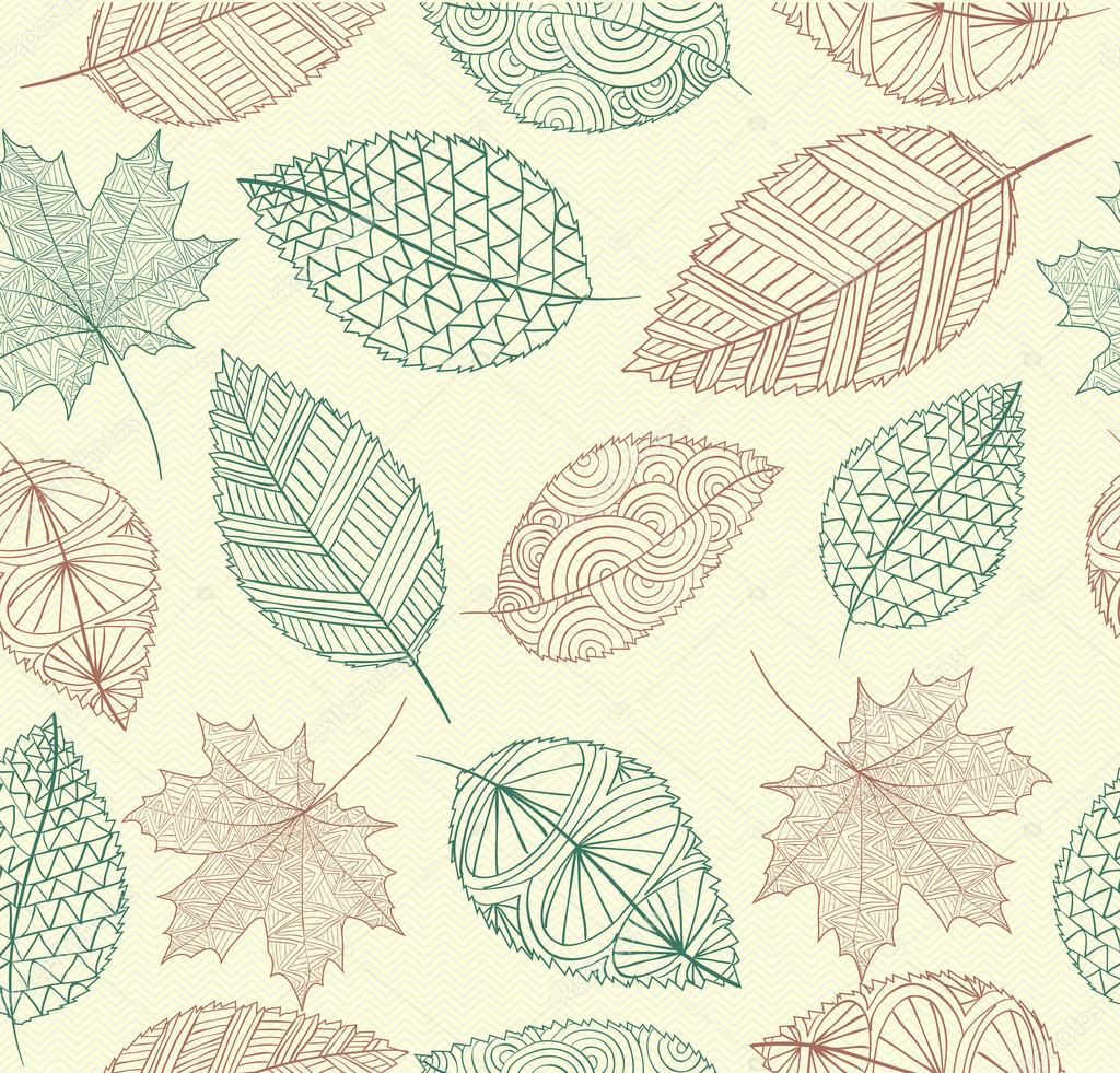 Drawn leaves leaf texture  EPS10 Stock — fall
