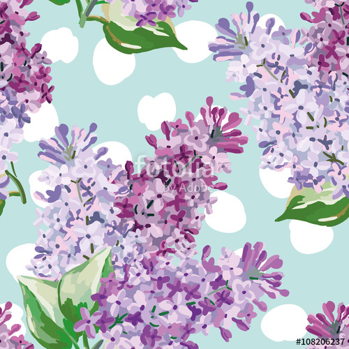 Drawn background light purple  polka blue bouquets with