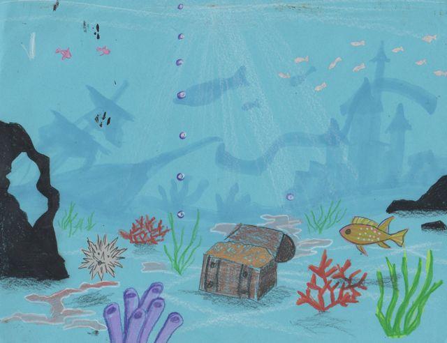 Drawn background ocean #1