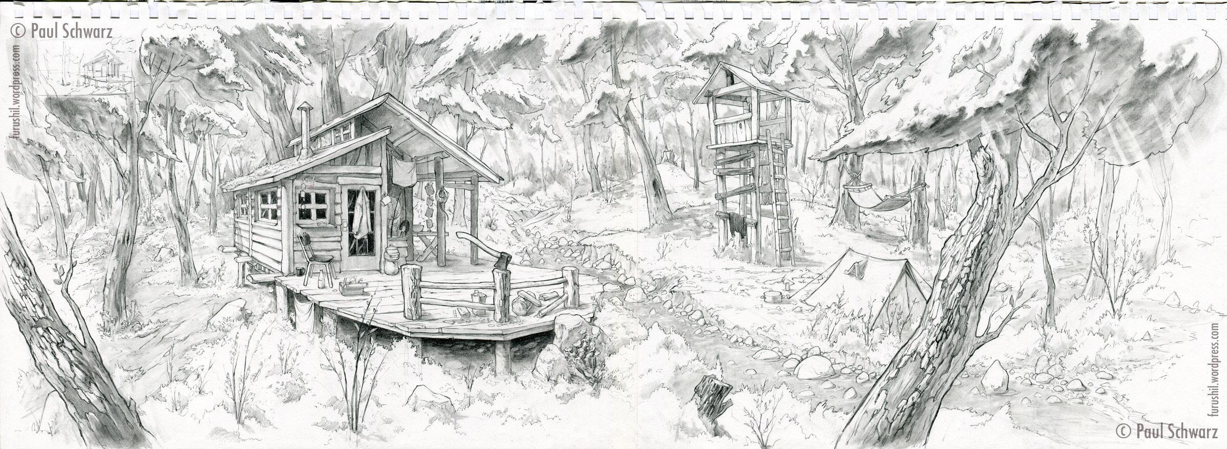 Drawn background pencil sketch #5