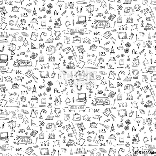 Drawn background school doodle To school school set illustration