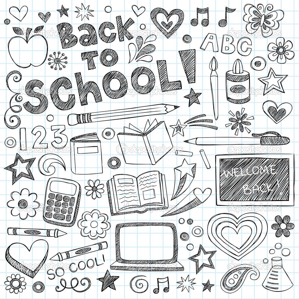 Drawn background school doodle Nuevo Bienvenido a cuaderno con