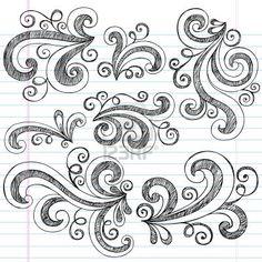 Drawn background swirls Doodle  vecteur on Doodle