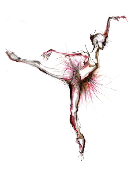 Drawn ballerine And black and artwork Sylvie