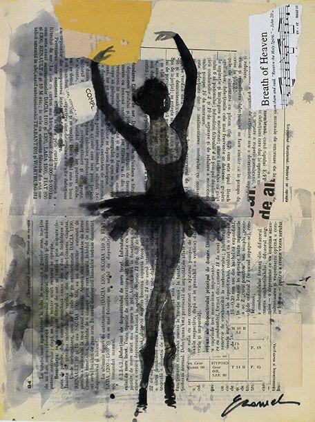Drawn ballerine back Ballet Print decor best Illustration