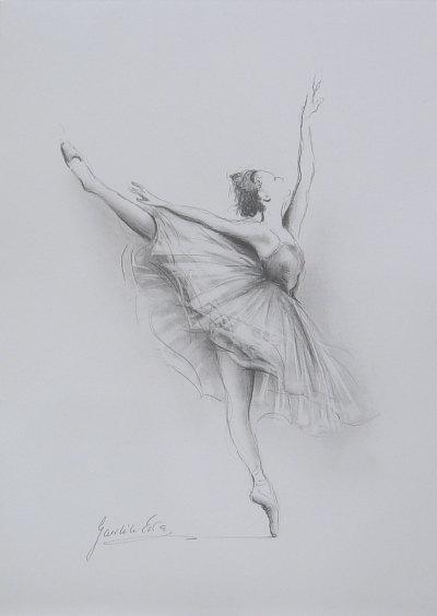 Drawn amd ballerina On of WHITE 12 paper