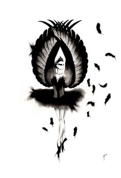 Drawn ballerine black swan Ballet Illustrations Swan and by
