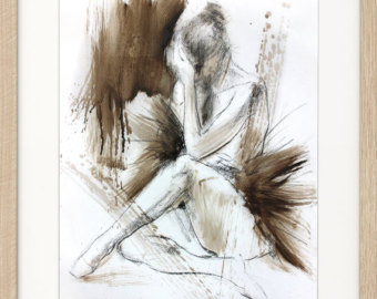 Drawn ballerina charcoal drawing #10