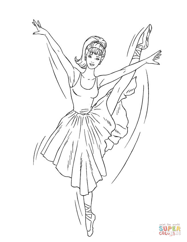Drawn ballerine coloring book Printable page coloring Barbie Pages