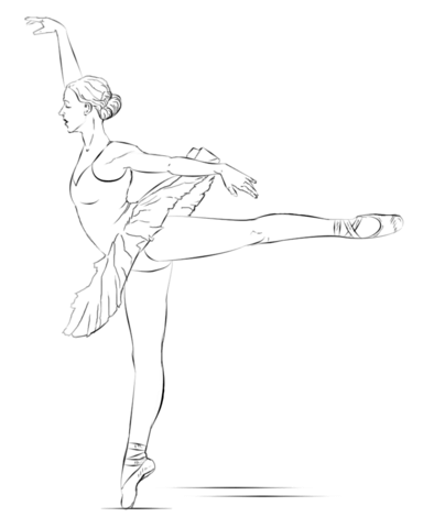Drawn ballerine coloring page Coloring Printable Ballerina of page