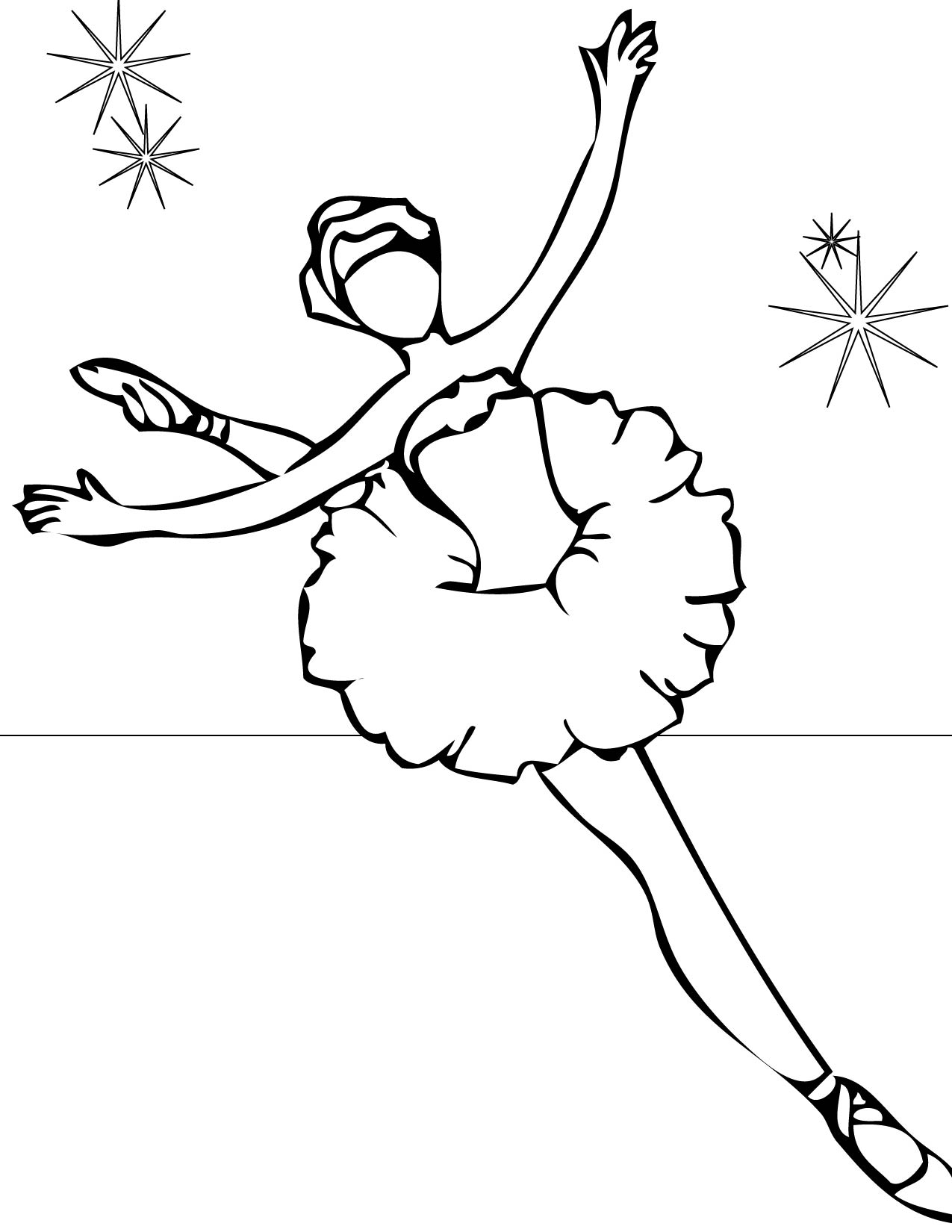 Drawn ballerine coloring page For Pages Free Kids Coloring