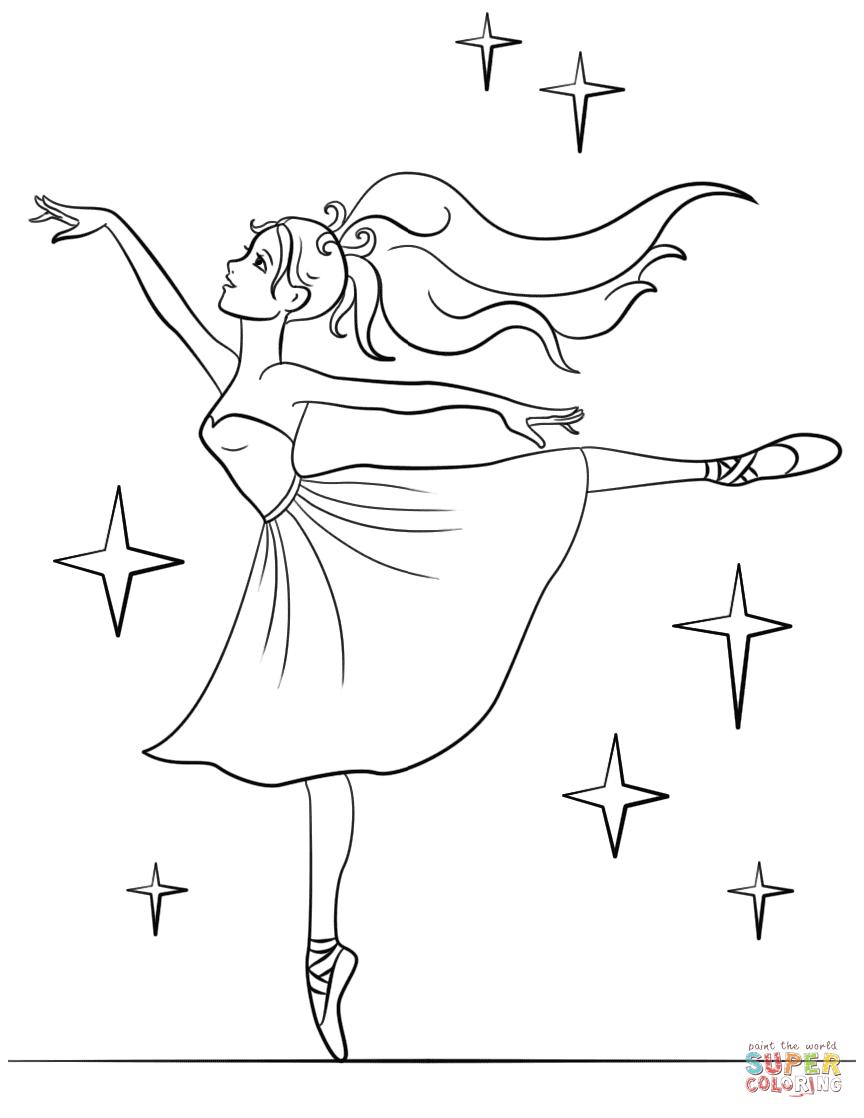 Ballerine clipart coloring #3