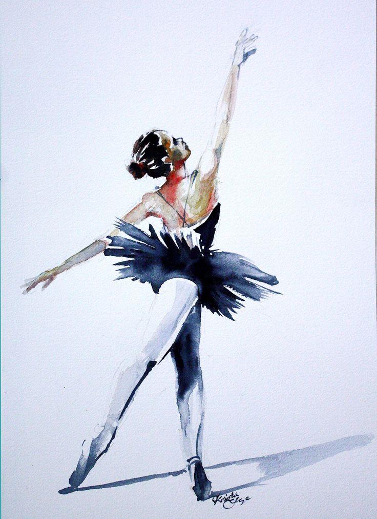 Drawn ballerine creepy Kristin Watercolor Dancer Original Pinterest