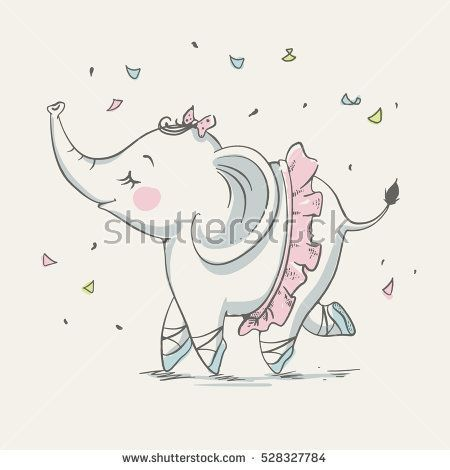 Drawn ballerine cute Elephant drawn illustration Cute cartoon