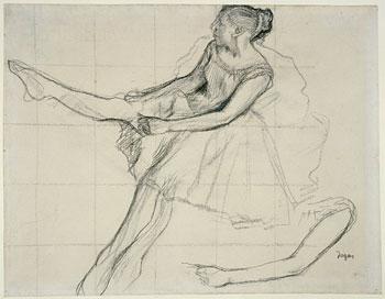 Drawn ballerina degas Young adjusting tights dancer adjusting