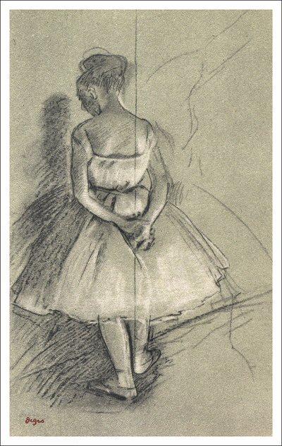 Drawn ballerina degas Degas degas stretching standing dancer