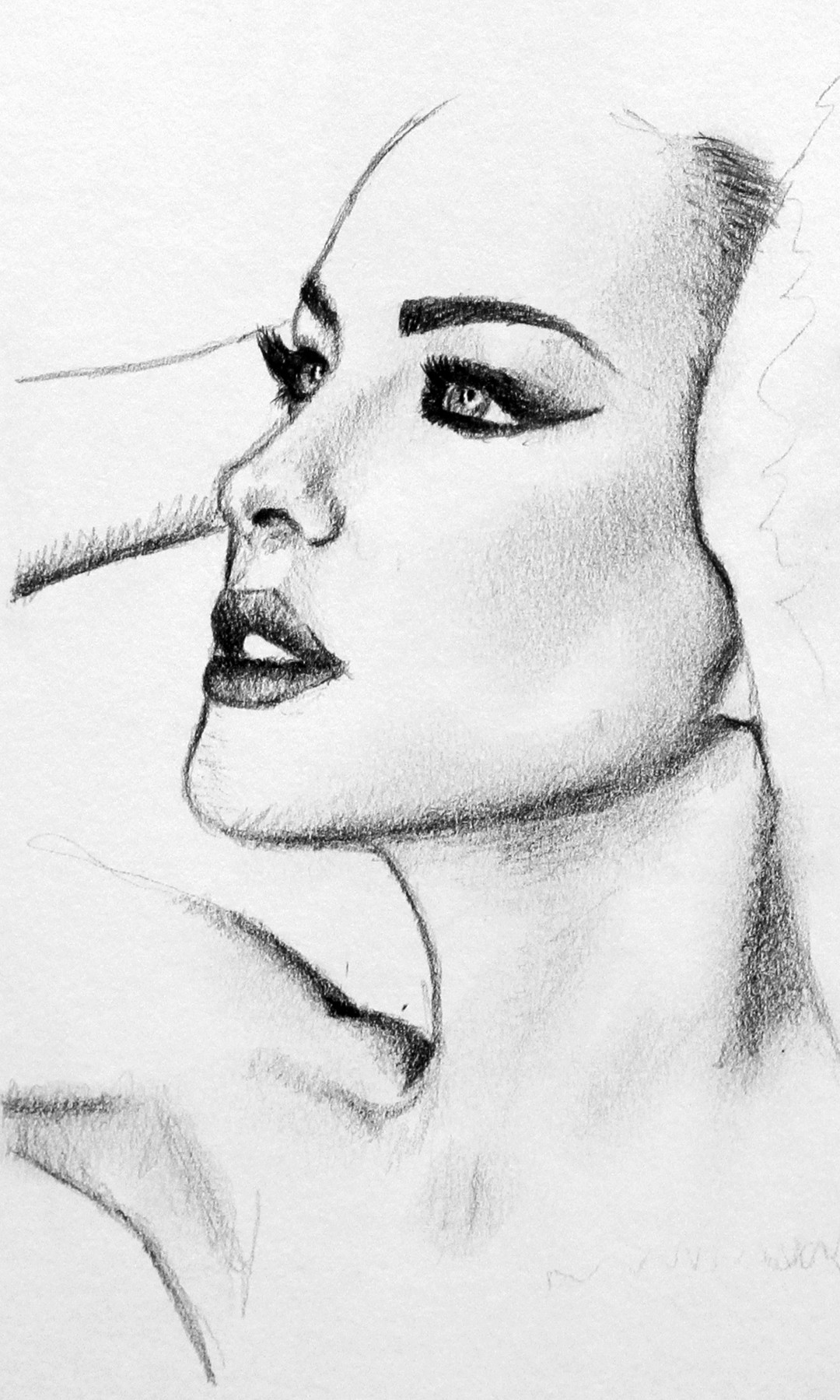 Drawn ballerine face (2013 (2013 by by Pencil