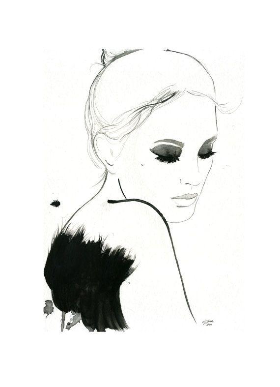 Drawn ballerine face Illustrations #fashion Dark images 55
