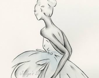 Drawn ballerina fashion illustration #6