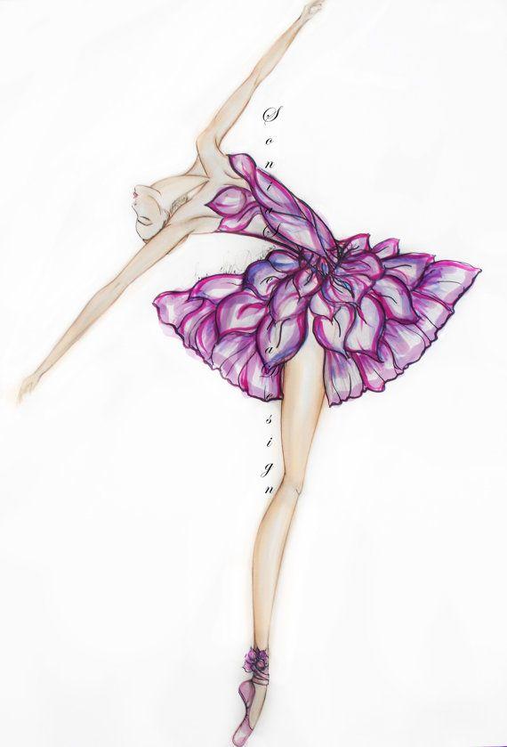 Drawn ballerina fashion illustration #3