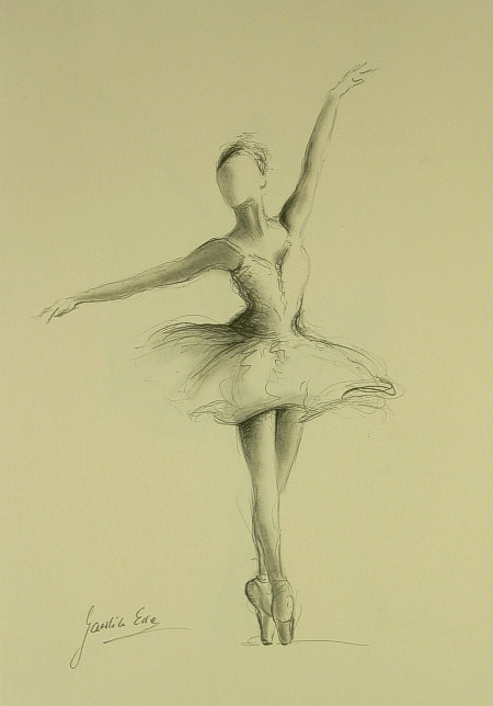 Drawn ballerine female dancer Ewa paper 12 on pencil