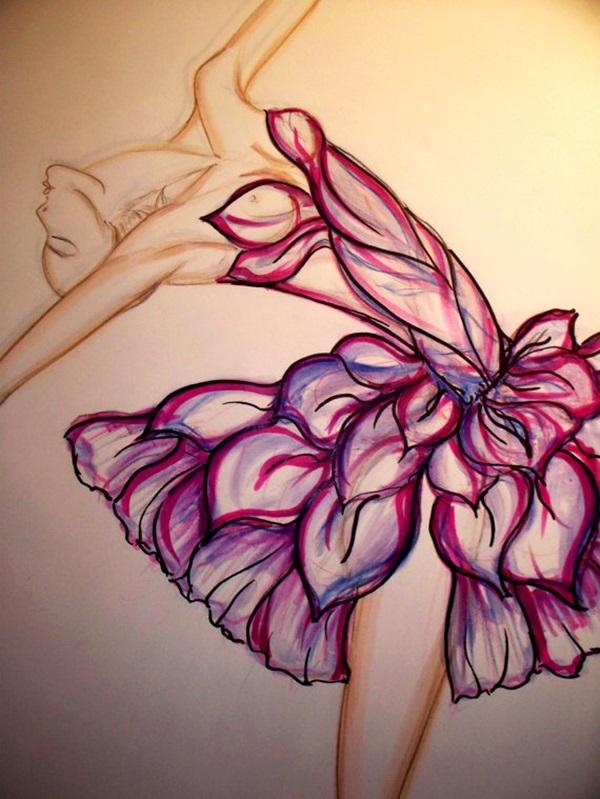 Drawn ballerine flower Stunning sketches 40 Stunning Ballerina